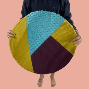 kotulla design blanket cushion in senf, türkis, weinrot