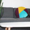 blanket cushion weinrot, senf, türkis