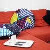 kotulla blanket cushion bunt, geometrisch gemustert, mit paspel